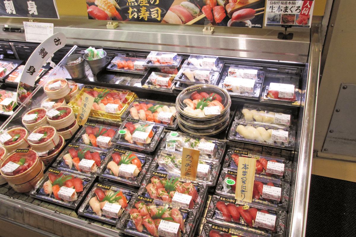 市場の切り替えにより鮮度アップを図った鮮魚のお寿司コーナー