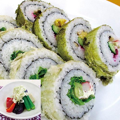 おぼろ昆布巻き寿司2種・夏野菜の冷やし鉢