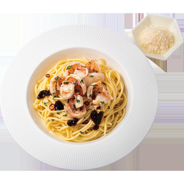 海苔の佃煮とえびのペペロンチーノ